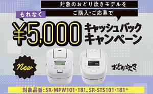 「5,000円」キャッシュバック