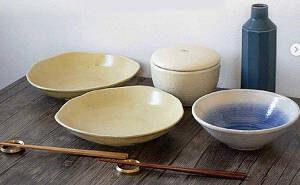 「西海陶器プレート」「オリジナル箸」