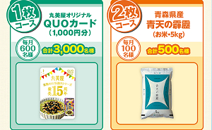 「丸美屋 QUOカード 1,000円」「青天の霹靂(お米・5kg)」